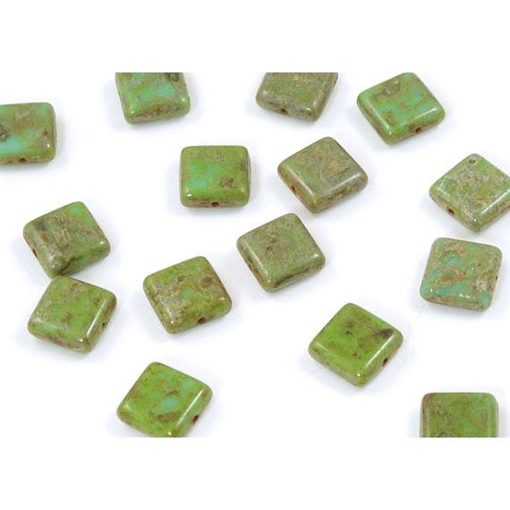 Czech Glass Rustic Green Turquoise Square Tile Beads 10mm  - 15
