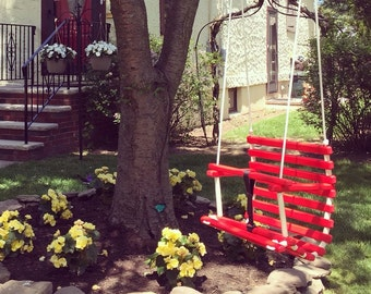 Childs swing children toddlers handcrafted red painted