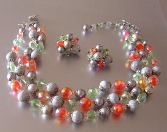 Vintage Vendome glass Bead triple strand Necklace & Earrings