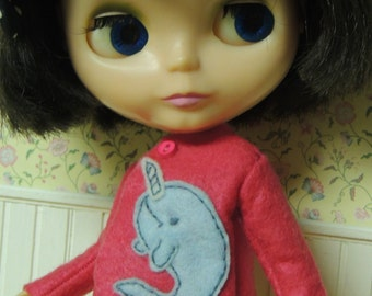 Felt Narwhal Coat for Blythe Doll