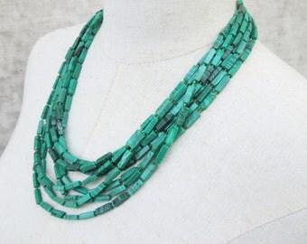 Green Malachite Jade Multi Strand Layered Beaded Necklace, Holiday Emerald Beads