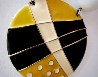 Mid Century Modern-style vintage necklace - black, white & yellow metal huge focal point with large black and white beads