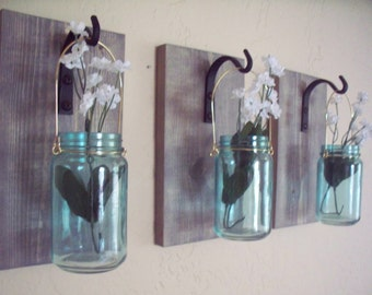 Turquoise jars on wood wall decor (3),  kitchen decor, country decor, wedding gift, rustic decor, housewarming gift.