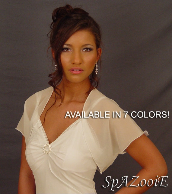 Chiffon wedding bolero jacket bridal shrug short sleeve CBA200 AVAILABLE IN 7 COLORS white, ivory, champagne, gray, pink, navy blue, black