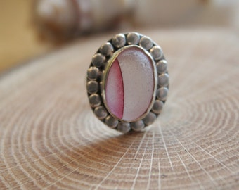 Eco Friendly One of a kind Unique Multi color pink Beach Sea Glass Statement Sterling Silver filled Bezel setting Ring Size US 6.5 (A1)