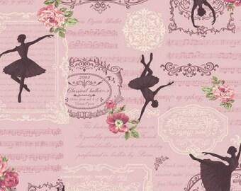 Prima RURU  bouquet by Quilt Gate Ballerinas on pink  print 1 yard RU2260-13C