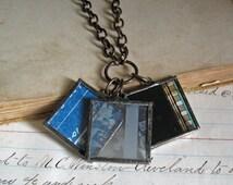 Industrial Film Blueprint Soldered Charm Necklace