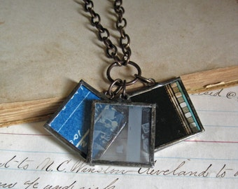 Industrial Film Blueprint Soldered Charm Necklace