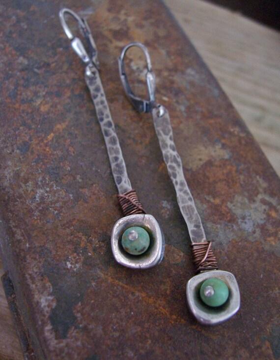 Sticks-n-Stones Earrings, Industrial Earrings, Drop Earrings, Metalwork Earrings, Turquoise Earrings, Sterling Silver Stick Earrings.