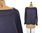 vintage mens 1930s sweater / navy wool sweater / 30s 40s sweater RARE size XL