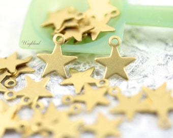 Raw Brass Star 9mm Charm Dangle Stampings - 20
