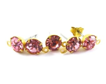 2 pcs - Gold Plated Crystal Earring Posts with Loop Rhinestone Ear Studs Earring Findings Round Set Stones 6.5mm - Light Rose