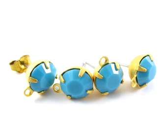 2 pcs - Gold Plated Swarovski Crystal Earring Posts with Loop Rhinestone Ear Studs Earring Finding Round 8mm - Turquoise