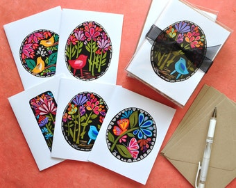 Midnight Garden Collection - Gift Box of 5 Cards - by Megan Jewel Designs