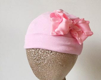 Clearance SALE Newborn Baby Girls Pink Bow Cotton Beanie Great PHOTOGRAPHY PROP Ready to Ship