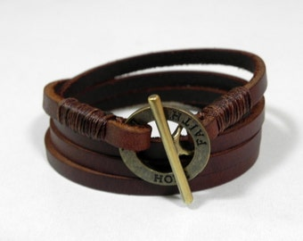 Brown Wrap Leather Bracelet Leather Cuff Bracelet with Bronze Toggle Clasp