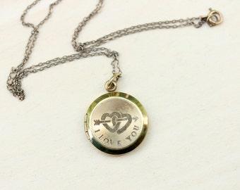 Gold Filled I Love You Locket Necklace
