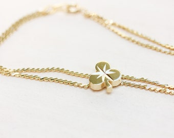Clover Bracelet, Gold Clover Bracelet, Silver Clover Bracelet, Lucky Clover Bracelet, Chain Bracelet, Flower Bracelet, Goodluck Bracelet