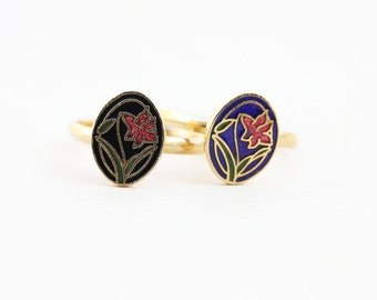 Enamel Flower Ring, Flower Ring, Oval Ring, Oval Gold Ring, Gold Ring, Blue Ring, Garden Ring, Black Ring, Gold Band, Adjustable Gold Ring