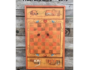 Checkers - Checkers Game - Folk Art - Primitive Decor - Checker Board - Checkerboard - Wooden Game Board -Chic