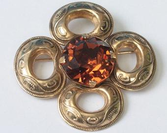 Topaz Glass Quatrefoil Shape Brooch Celtic Style Vintage