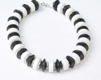 Black and White Lucite Necklace Chunky Bold Vintage