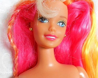 Fabulous Vintage '93 Retro Articulated Barbie Doll with Knee Length Pink Yellow & Orange Hair!  B#01