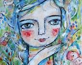 Original painting  Girl in the garden  Portrait  OOAK by  miliaart studio