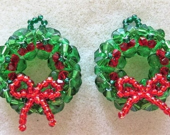 Christmas Wreath Earrings Pdf Tutorial Jewelry Making (INSTANT DOWNLOAD)