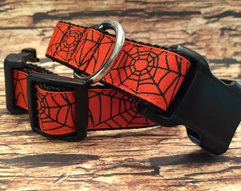 Halloween Dog Collar with Spiderwebs in Side Release Buckle Style Sizes M - L - XL