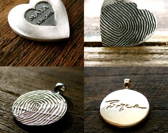 Order Your Handmade Custom Designed Finger Print Pendant or Necklace