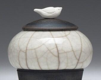 Miniature Jar, tiny jar, white crackle, Raku, ceramic, Jar with bird,art pottery, home decor,handmade jar, pottery