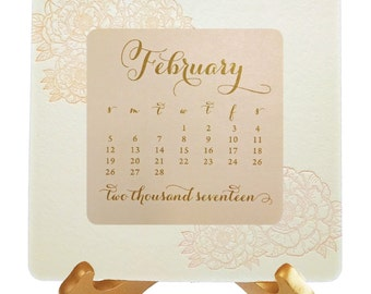 Soft and Beautiful Peony Desk Calendar - Letterpress printed back panel with flat printed monthly cards