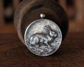 Antique French Solid Silver Rabbit Medal Pendant Good Luck Charm