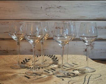 Set of 6 Etched Crystal Wine Glasses