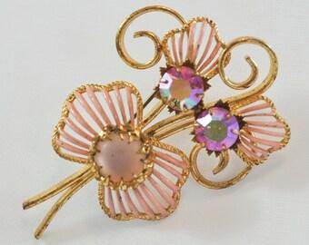 Aurora Borealis Pink Rhinestones and Enamel Open Design Leaf Vintage Pin Brooch