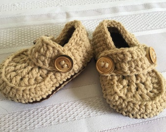 Knitted baby loafer booties made to order