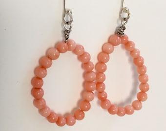Coral Gemstone Earrings, Coral Gemstone Hoop Earrings, Pink Hoops, Hoops with Pink Stones