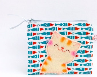 Smiling Cat Coin Purse, Cat Wallet, Cat Zipper Pouch, Cat Fish Pouch, Coin Purse, Cute Cat Purse, Fancy Fabric Purse - Cat Lover Gift