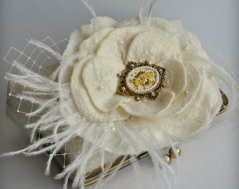 Wedding Handbag, Purse, Bag, Clutch, FREE SHIPPING Hand Embroidered Cameo Oistrich,Goose Feathers, Freshwater Pearls in Ivory