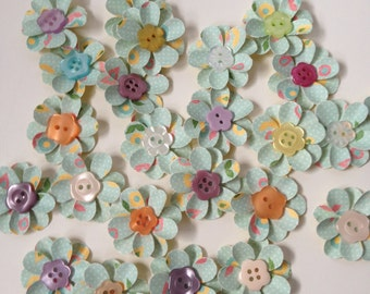 Paper Flower Embellishments with Buttons
