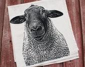 Sheep Tea Towel - Hand Printed Flour Sack Tea Towel, Dish Towel, Sheep Towel