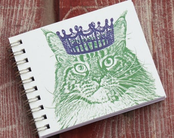 Mini Journal, Sketch Book - Cat with Crown, Kitty Royalty