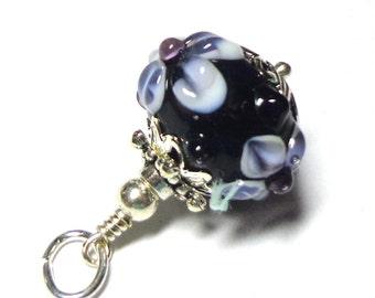 Lampwork, Necklace Pendant ,  Silver Black Grey, White , Silver, Sparkling Charm