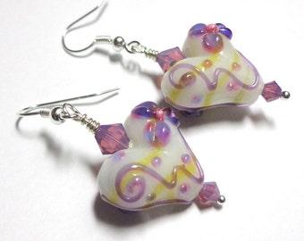 White Lampwork Heart Earrings, Purple White Earrings, Swarovski Austrian Crystal Earrings, Silver