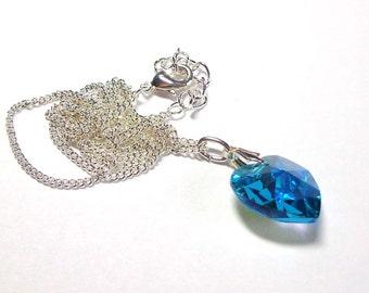 Sparkling Swarovski Crystal Heart Necklace, Blue Zircon Necklace, Silver, Heart Necklace, Spiritcatdesigns