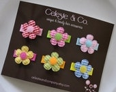 Baby Hair Clips - Infant Hair Clips - Bows - Small - Itty Bitty Flowers - 6-Pack - Baby Snap Clips