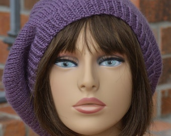 Knit Beret - Dusty Purple Knit Beret Slouch Hat