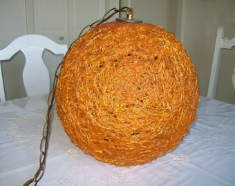 1960's Spaghetti Light Orange Spaghetti Chain Lamp