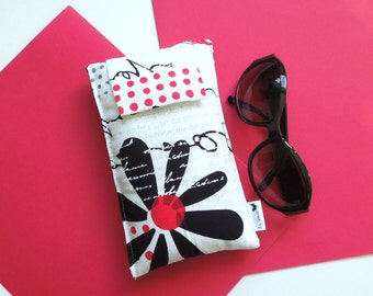 Roomy Sunglasses Case in a Black Flower and Script Design